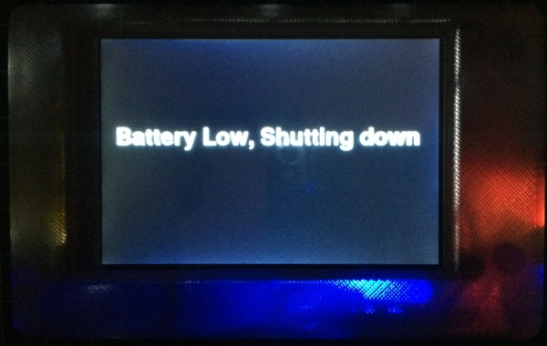 Touch Pi Low Battery shutdown screen